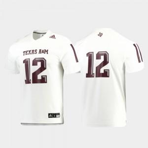 For Men Replica White Texas A&M Jersey Football #12 814554-810