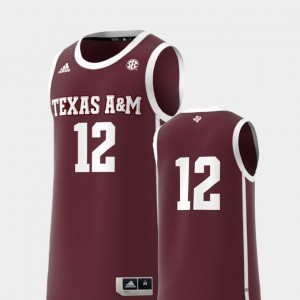 Maroon Men's #12 College Replica Texas A&M Jersey Basketball Swingman 880493-273