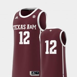 Maroon College Replica #12 Texas A&M Jersey Basketball Swingman Men 694269-309