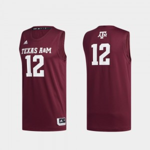 Basketball Swingman For Men's Texas A&M Jersey #12 Swingman Basketball Maroon 440299-516