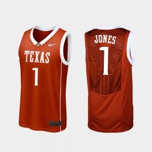 For Men #1 College Basketball Burnt Orange Andrew Jones Texas Jersey Replica 911886-436