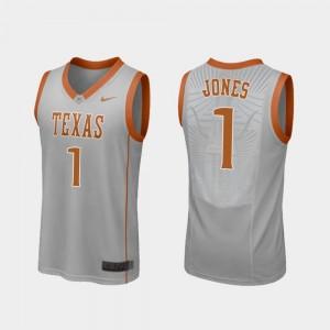 Replica Gray For Men's College Basketball #1 Andrew Jones Texas Jersey 282963-117