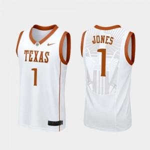 Mens White College Basketball Andrew Jones Texas Jersey Replica #1 531490-517