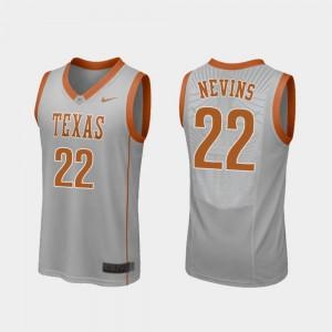 #22 College Basketball For Men's Gray Replica Blake Nevins Texas Jersey 964801-143