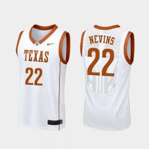 White #22 College Basketball Blake Nevins Texas Jersey For Men Replica 448731-531