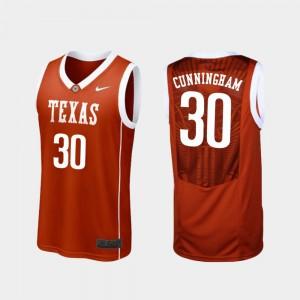 For Men #30 College Basketball Replica Burnt Orange Brock Cunningham Texas Jersey 782976-170