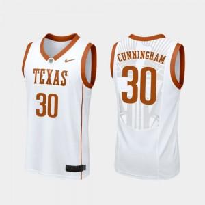 #30 For Men Replica Brock Cunningham Texas Jersey White College Basketball 651874-187