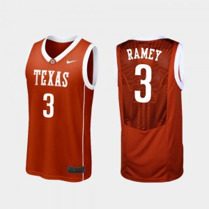 Courtney Ramey Texas Jersey #3 Replica For Men Burnt Orange College Basketball 284686-763