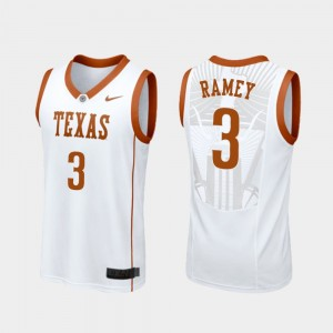 College Basketball #3 White Replica Courtney Ramey Texas Jersey Mens 168757-264