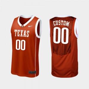 #00 College Basketball Replica For Men's Burnt Orange Texas Customized Jersey 518002-657