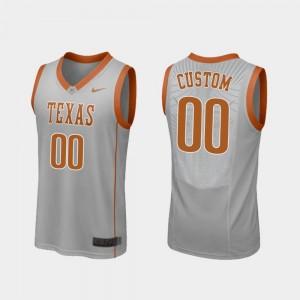 Gray College Basketball For Men's #00 Replica Texas Customized Jersey 343708-338