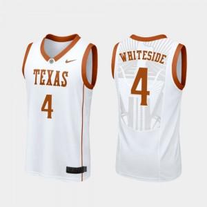 #4 Mens Replica White College Basketball Drayton Whiteside Texas Jersey 845012-624