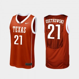 For Men Dylan Osetkowski Texas Jersey Burnt Orange Replica #21 College Basketball 915243-709