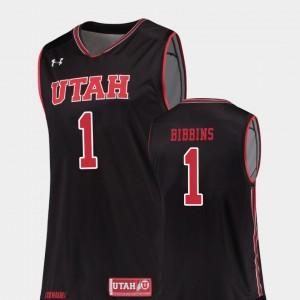 Justin Bibbins Utah Jersey Men Replica #1 College Basketball Black 568482-230