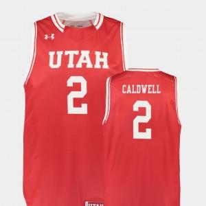 Kolbe Caldwell Utah Jersey #2 For Men Replica College Basketball Red 231617-886