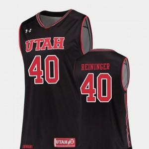 College Basketball Replica For Men's #40 Marc Reininger Utah Jersey Black 722234-555