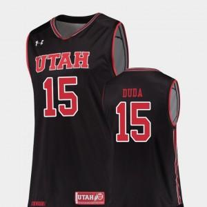 Nate Duda Utah Jersey Replica Men's Black #15 College Basketball 926034-297