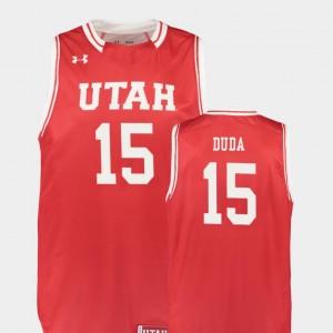 Men's Replica Nate Duda Utah Jersey #15 Red College Basketball 704398-279
