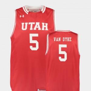 College Basketball Red Replica Mens Parker Van Dyke Utah Jersey #5 325465-883