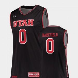 College Basketball Replica Men's #0 Black Sedrick Barefield Utah Jersey 831858-798