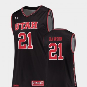 Mens Replica Tyler Rawson Utah Jersey College Basketball #21 Black 935642-544