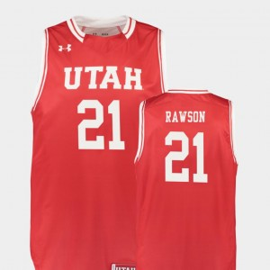 Men's #21 Replica College Basketball Red Tyler Rawson Utah Jersey 433671-708