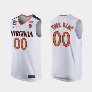 #00 White 2019 Final-Four For Men's UVA Custom Jersey 336047-962
