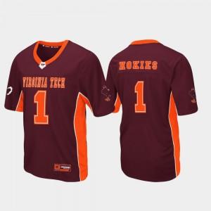 Football Virginia Tech Jersey Max Power #1 Maroon Mens 746554-370