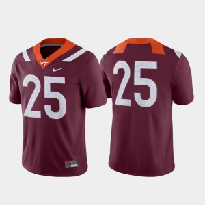 Virginia Tech Jersey Maroon #25 College Football Men's Game 174987-304