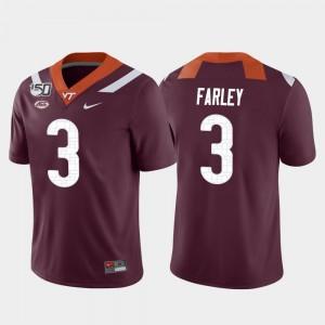 Game Caleb Farley Virginia Tech Jersey College Football Mens #3 Maroon 129874-962