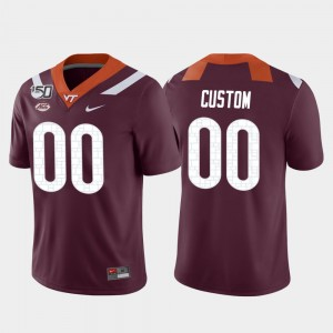 For Men #00 Virginia Tech Custom Jerseys Maroon Game College Football 415721-699