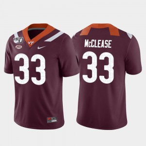 Deshawn McClease Virginia Tech Jersey Maroon Game College Football Mens #33 492462-754