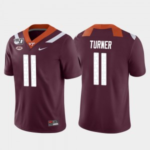 #11 Tre Turner Virginia Tech Jersey Maroon College Football Game For Men's 331665-710