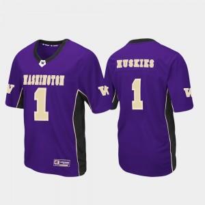Purple #1 Men's Washington Jersey Max Power Football 444535-442