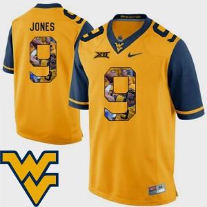 Football Men Gold Pictorial Fashion #9 Adam Jones WVU Jersey 801796-414