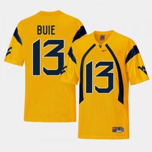 Men Gold Andrew Buie WVU Jersey College Football #13 Replica 351444-854