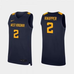Replica #2 Brandon Knapper WVU Jersey Men College Basketball Navy 115451-516