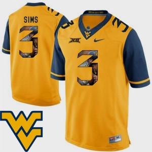 #3 For Men Football Gold Pictorial Fashion Charles Sims WVU Jersey 480089-944