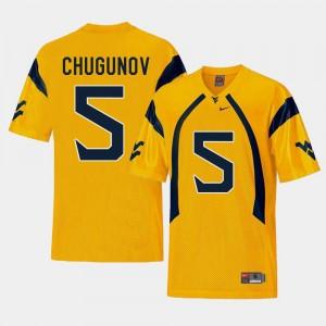 #5 Replica College Football For Men Chris Chugunov WVU Jersey Gold 435579-258