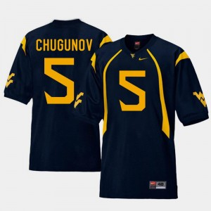 Navy #5 Replica For Men's Chris Chugunov WVU Jersey College Football 138222-890