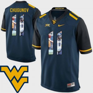 Pictorial Fashion Football For Men's #11 Chris Chugunov WVU Jersey Navy 619631-258