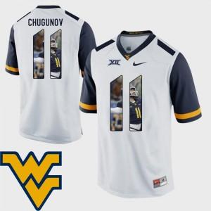 #11 White Pictorial Fashion Football Men's Chris Chugunov WVU Jersey 125878-765
