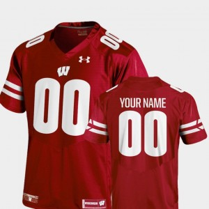 Wisconsin Customized Jersey College Football Mens 2018 TC #00 Red 436066-335
