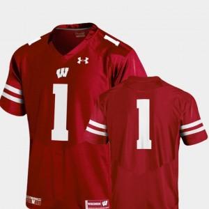 Men's College Football #1 Wisconsin Jersey Team Replica Red 205481-307