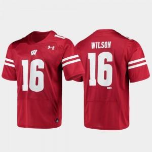 #16 Men's Replica Russell Wilson Wisconsin Jersey Red Alumni Football 657188-891
