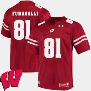 2018 NCAA Men #81 Alumni Football Game Red Troy Fumagalli Wisconsin Jersey 563834-126