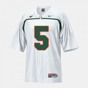 For Kids College Football Andre Johnson Miami Jersey White #5 122229-557