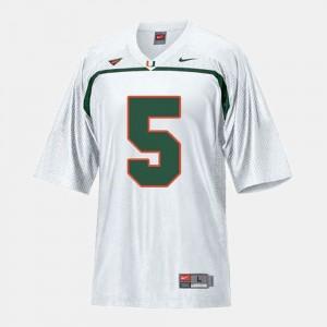 College Football Men's #5 Andre Johnson Miami Jersey White 784323-200