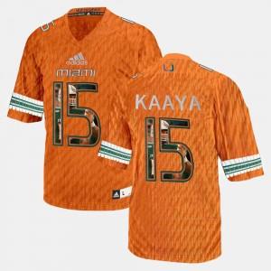 #15 Men Orange Brad Kaaya Miami Jersey Player Pictorial 740944-490