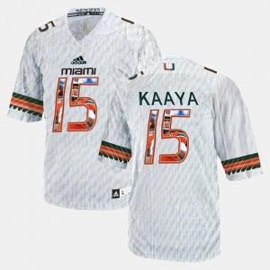 Men's Brad Kaaya Miami Jersey White Player Pictorial #15 419448-418